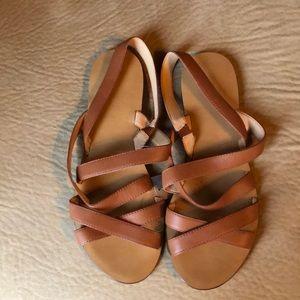 J. Crew Basic Leather Cross sandals